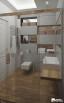 Łazienka z użyciem betonu architektonicznego z płytka imitującą drewno. Nowoczesna łazienka pokazująca trendy w aranżacji łazienki 2014.