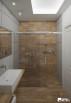 Łazienka z betonu architektonicznego w połączeniu z płytkami imitującymi drewno. Ścianę w kabinie wykonano w całości z płytek drewnopodobnych.