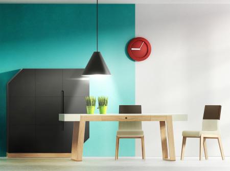Funkcjonalna i nowoczesna jadalnia Minimal. Połączenie kilku styli tworzących spójną całość.