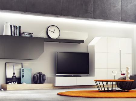 Wnętrze Nook czyli minimalistyczna propozycja dla osób szukających unikalnych mebli, które dostosują się do potrzeb użytkownika.