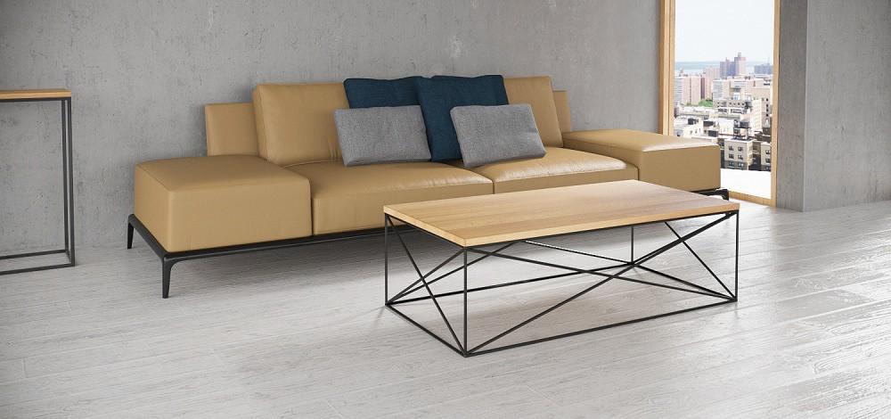 nowoczesny stolik kawowy z drewnianym blatem na oryginalnych stalowych płozach