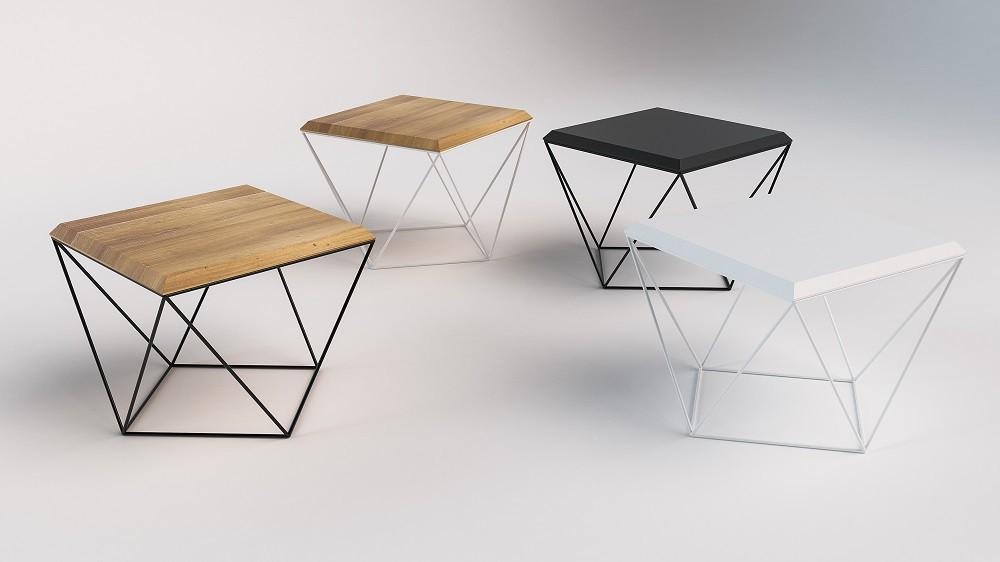 stoliki kawowe w stylu nowoczesnym drewaniane na metalowych nogach