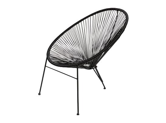 Czarne, designerskie krzesło na zewnątrz stworzone z odpornego materiału