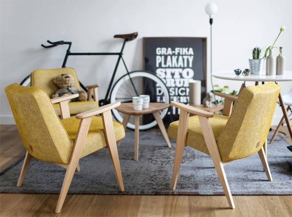 Modne fotele w stylu retro fotel 366 concept oryginalny produkt Józefa Chierowskiego. Fotel PRL w kolorze musztardowym