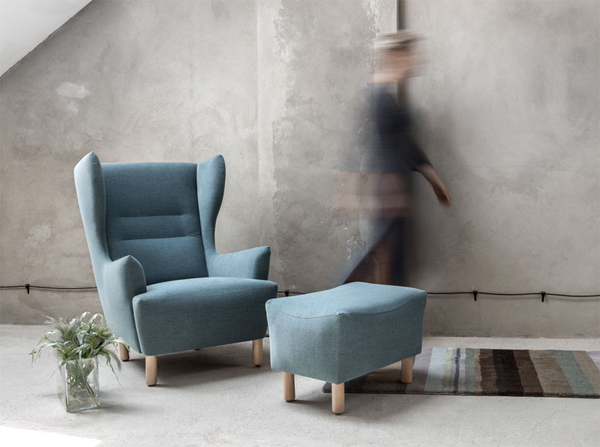 Fotel Muno Marbet Style komfortowy fotel z podnózkiem w dawnym stylu