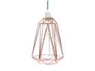 Lampa wisząca z miedzianych rurek stworzona do wnętrz w stylu loftowym