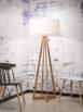 Lampa podłogowa w stylu skandynawskim. Drewniana. bambusowa podstawa oraz biały, lniany abażur. Produkt wykonany z ekologicznych materiałów