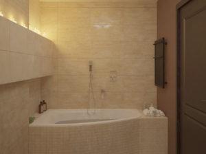 Klasyczna, elegancka łazienka Budapest w tonacji beżowej i brązowej.