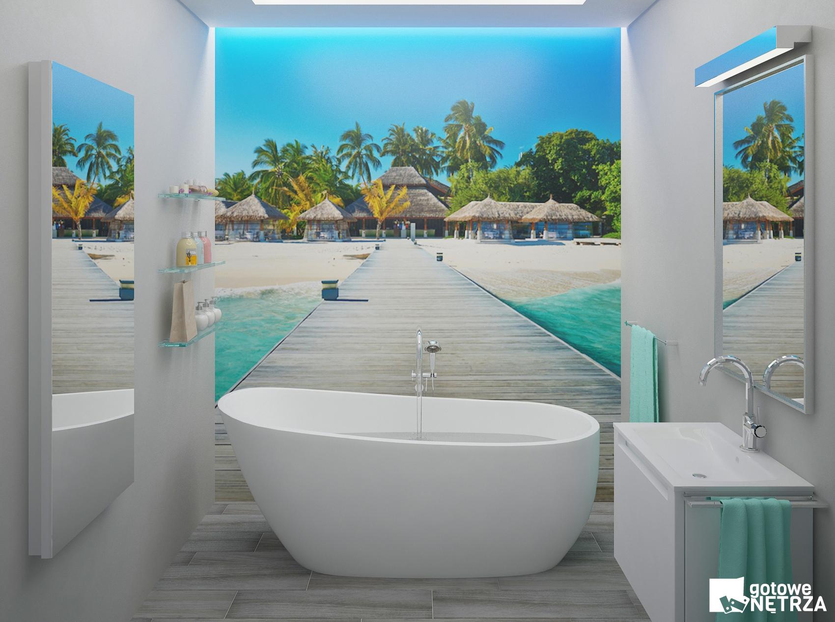 Gotowa łazienka Z Fototapetą I Wanną Wolnostojącą