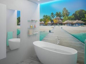 Łazienka w modnych odcieniach szarości z widokiem na Malediwy.