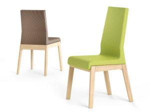 Dwa warianty krzesła Kyla, z niskim i wysokim oparciem.