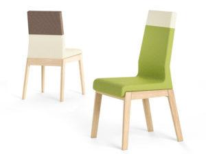 Dwie wersje krzesła Kyla, z niskim i wysokim oparciem. Dwukolorwe.
