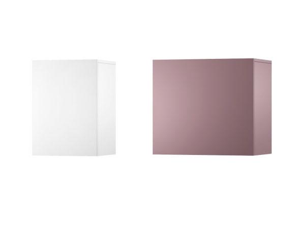 Przykład dwóch zawieszanych szafek z kolekcji w kolorach: fioletowy oraz bialy.