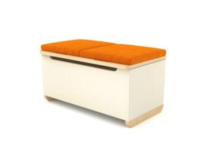 Pojemna i praktyczna skrzynia Toy Box w wersji z pomarańczowym materiałem.