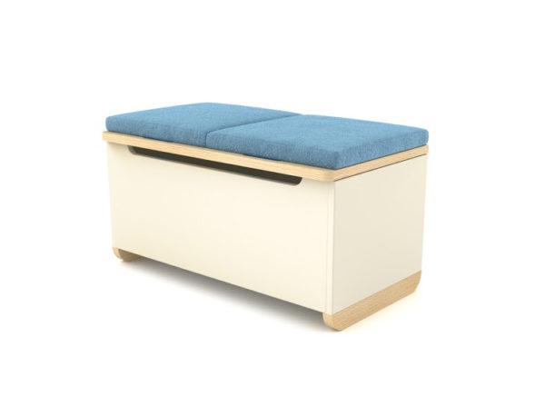 Pojemna i praktyczna skrzynia Toy Box w wersji z niebieskim materiałem.