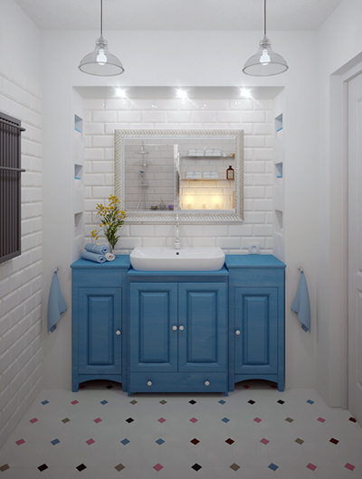 łazienka Z Białymi Małymi Płytkami Cegiełkami