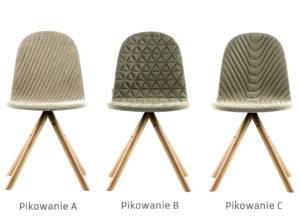 Krzesła Mannequin 01 producenta Iker na drewnianych nogach. Różne rodzaje pikowania tapicerki. Krzesła tapicerowane nowoczesne w stylu skandynawskim różne kolory. Hit sprzedaży