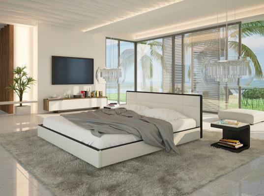 łóżka tapicerowane są bardzo modne w tym sezonie. Łóżko tapicerowane skórą ekologiczną, z komfortowym zagłówkiem