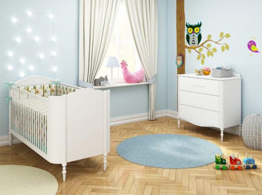 Kolekcja mebli dziecięcych stworzona przez Annę Mucha Good Night to funkcjonalne łóżeczko i komoda z przewijakiem w stylu klasycznym. Łóżeczko rośnie razem z dzieckiem