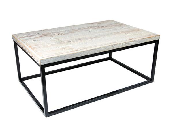 stolik kawowy bielony w stylu loft. Stolik-ława wykonany z naturalnych elementów w stylu loft
