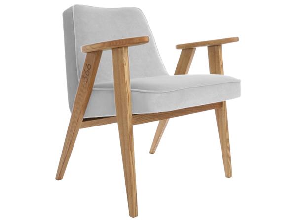Fotel 366 w kolorze szarym w tkaninie velvet. Miekkiej i plamoodpornej. Styl vintage