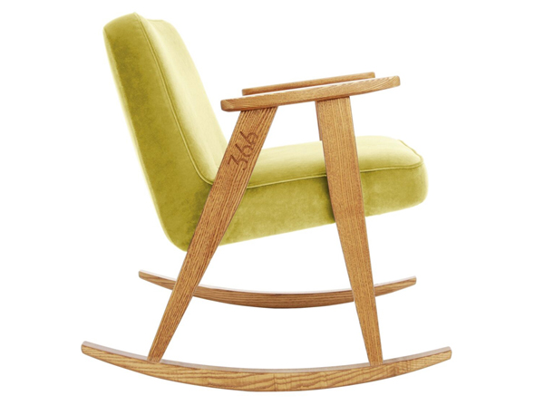 Fotel 366 na bujanych nogach tzw. Rpcking Cgair. Kultowy mebel polskiego designu. Stworzony dla miłośników dizajnu i wnętrz w stylu vintage