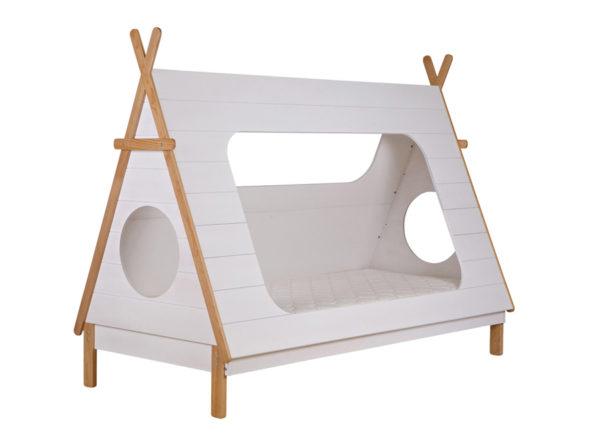 Łóżko Tipi Woood w kształcie namiotu. Łóżko wigwam idealne do pokoju dziecięcego.