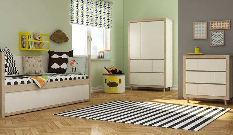 Meble Simple producenta Bellamy w stylu skandynawskim stworzone do pokoju dziecka