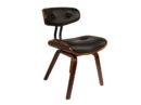 Krzesło Blackwood Dutchbone. Krzesło w stylu vintage tapicerowane czarną skórą na drewnianych nogach. Krzesło inspirowane latami 50-tymi. Krzesło idealne do gabinetu, salonu i jadalni