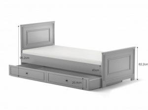 Łóżko ines bellamy w kolorze szarym z szufladą. Łóżko do pokoju dziecka w szarym kolorze