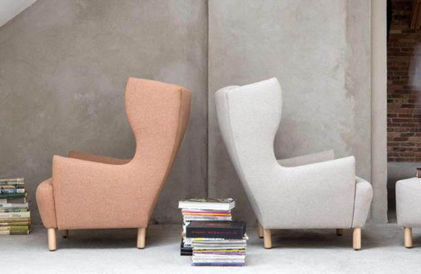 Komfortowy fotel z wysokim oparciem w stylu vintage. Modny fotel w róznych kolorach