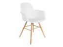 Albert Kuip Zuiver modne białe krzesło z podłokietnikami na drewnianych, jesionowych nogach. Designerskie krzesło do jadalni jak i komercyjnych wnętrz. Krzesło stworzone do wnętrz w stylu skandynawskim