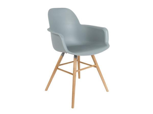 Albert Kuip Zuiver modne krzesło z podłokietnikami w kolorze szarym na jesionowych, drewnianych nogach. Designerskie krzesło do jadalni jak i komercyjnych wnętrz