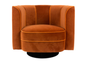 Fotel Lounge Flower producenta Dutchbone. Obrotowy fotel w klubowym stylu lat 70-tych