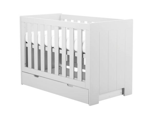 Łóżeczko 120x60 Calmo białe Pinio. Łóżeczko dla niemowlaka w stylu skandynawskim
