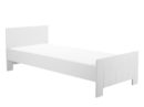 Łóżko Calmo producenta Pinio w kolorze białym. Łóżko z możliwością dokupienia barierki zabezpieczającej. Łóżko do pokoju kilkulatka