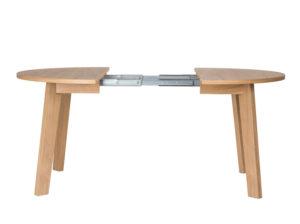 Okrągły stół rozkładany wykonany z drewna stworzony do małych wnętrz
