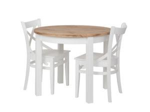 Okrągły stół rozkładany w stylu skandynawskim. Drewniany blat i białe nogi. Okrągły stół do jadalni do niewielkich wnętrz