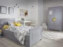 Zestaw mebli do pokoju dziecka w kolorze szarym. Stylowe szare łóżko z szufladą , szafa oraz biurko. Meble dziecięce w stylu hiszpańskim. Meble Ines Grey Bellamy