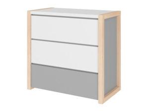 Komoda Pinette Bellamy na drewnianej podstawie w kolorze biało-szarym. Stworzona do pokoju dziecka
