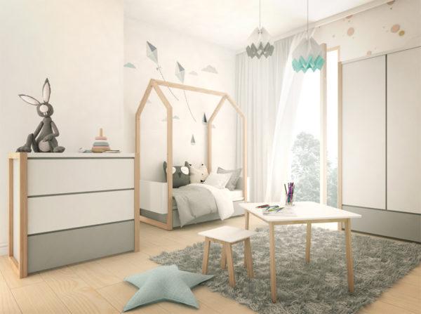 Pinette producenta Bellamy. Meble stworzone do pokoju dziecka. Łóżeczko domek Pinette, szafa oraz komoda w kolorze biało-szarym