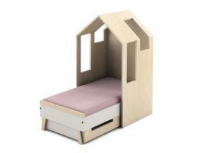 Tapczanik Magi Timoore z domkiem w stylu skandynawskim, Idealna kryjówka dla kilkuletniego dziecka, wysoka jakość wykonania z naturalnego drewna