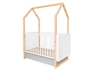 Łóżeczko Pinette producenta Bellamy. Łóżeczko domek idealna kryjówka dla dziecka wykonane w kolorze białym i szarym na drewnianej podstawie