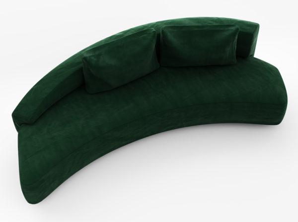 Oryginalna sofa w kształcie półksiężyca wykonana z miękkiego velvetu w stylu glamour w kolorze ciemnozielonym