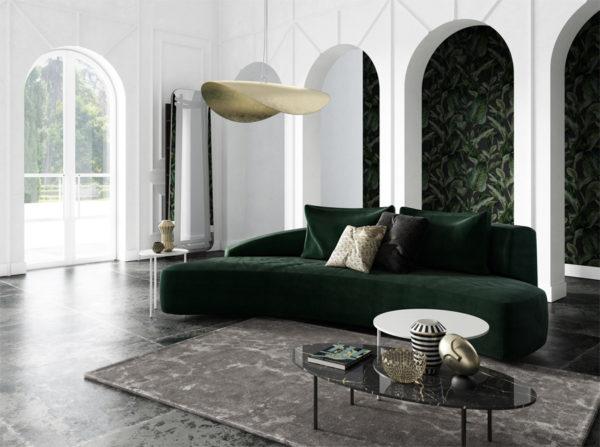 Sofa Moon w stylu industrialnym o nieregularnym kształcie półksiężyca. Nietuzinkowa i oryginalna wyprodukowana ręcznie w Polsce