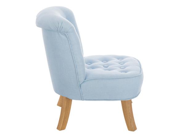 Fotelik do pokoju dziecka w kolorze błękitnym wykonany z lnu