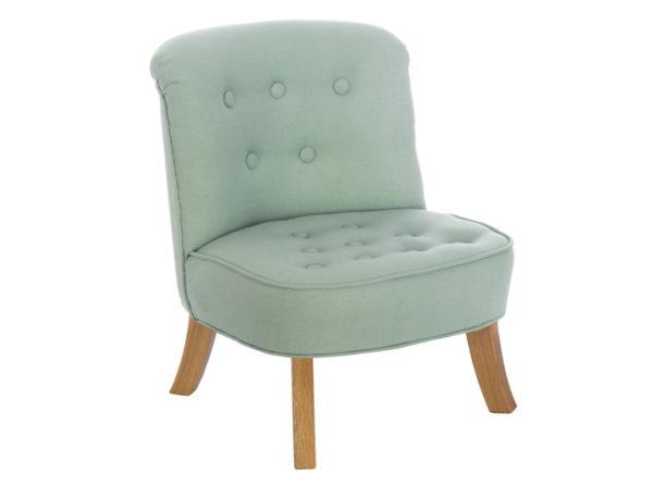 Fotelik do pokoju dziecka w kolorze miętowym wykonany z lnu