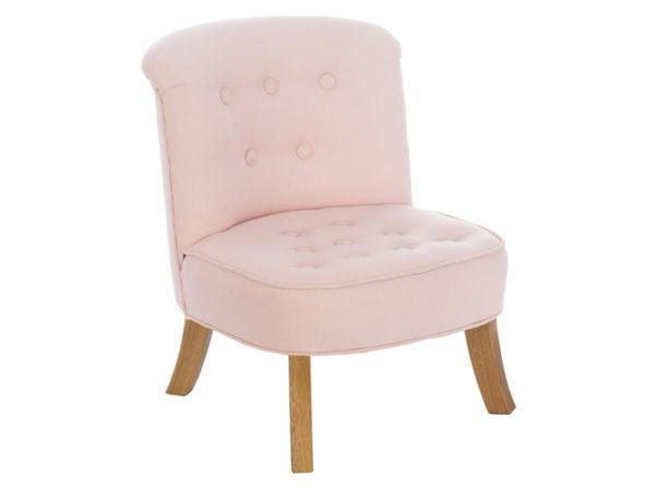 Fotelik do pokoju dziecka w kolorze pudrowego różu wykonany z lnu
