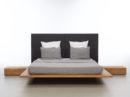 Nowoczesne i niesamowite łóżko drewniane z wysokim tapicerowanym zagłówkiem w kolorze grafitowym. Wykonane z wysokiej jakości drewna. Polski design. Łóżko Mood 2.0 Mazzivo
