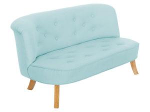 Sofa pastelowa do pokoju dziecka. Wykonana z lnu. Idealna sofka dla dziecka